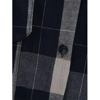 Plaid Front Pockets Long Shirt - DEEP BLUE DEEP BLUE