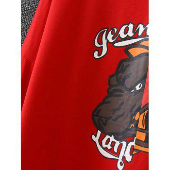 Cartoon Applique Loose-Fitting Pullover Sweatshirt - RED RED