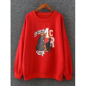 Cartoon Applique Loose-Fitting Pullover Sweatshirt - RED 4XL