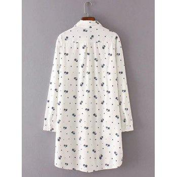 Buttoned Kitten Print Long Shirt - WHITE WHITE