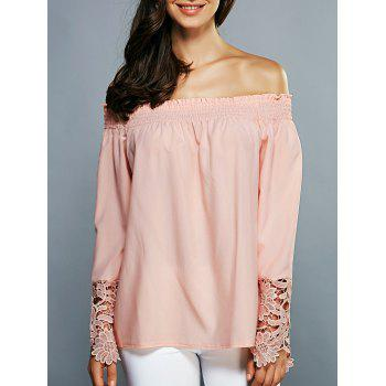 Off-The-Shoulder Laciness Cutwork Blouse
