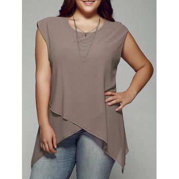 Plus Size Asymmetrical Chiffon Blouse - KHAKI 4XL