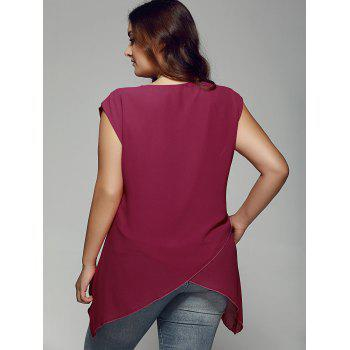 Plus Size Asymmetrical Chiffon Blouse - WINE RED WINE RED