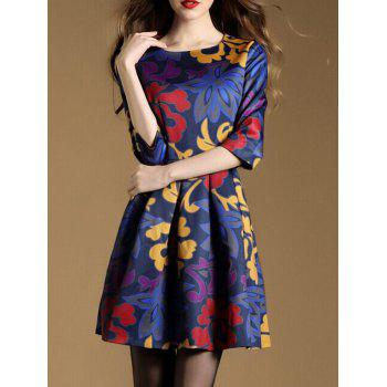 3/4 Sleeve Abstract Floral Print Pocket Design Dress