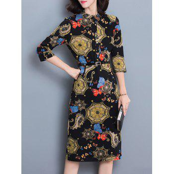 3/4 Sleeve Ornate Print Slimming Dress