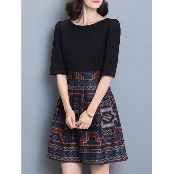 Geometric Print Splicing Slimming Dress