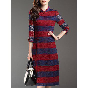 3/4 Sleeve Hollow Out Striped Splicing Dress