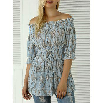 Buy Shoulder Floral Print Shirred Blouse LIGHT BLUE