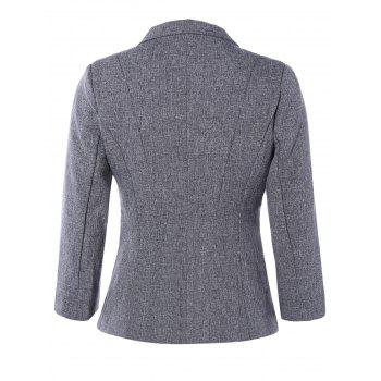 3/4 Sleeve One Button Short Jacket Blazer - GRAY GRAY