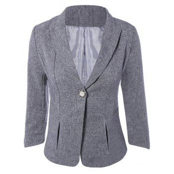 3/4 Sleeve One Button Slimming Jacket Blazer