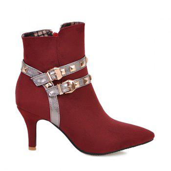 Color Block Rivets Double Buckle Short Boots