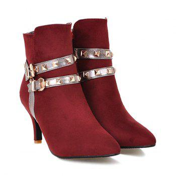 Color Block Rivets Double Buckle Short Boots - WINE RED 38
