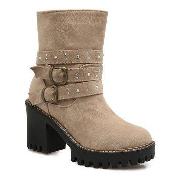 Double Buckle Suede Rhinestones Boots