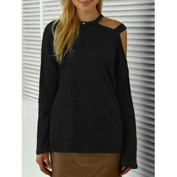 Full Sleeve Cut Out Tee - BLACK ONE SIZE