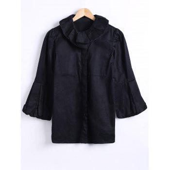 Collared Puff Sleeve Short Coat