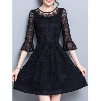 Flare Sleeve Party Cutwork Dress