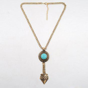 Round Faux Turquoise Sweater Chain - GOLDEN GOLDEN