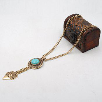 Round Faux Turquoise Sweater Chain -  GOLDEN