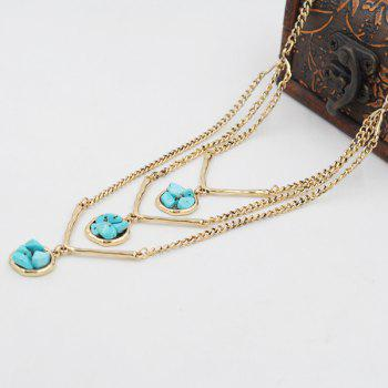 Layered Faux Turquoise Sweater Chain -  GOLDEN