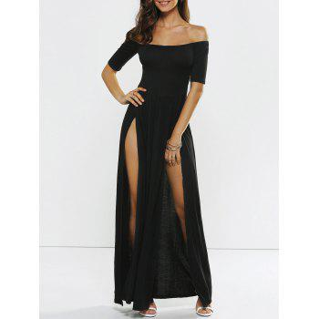 Off Shoulder Slit Maxi Formal Dress