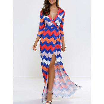 Zigzag Beach Wrap Slit Maxi Dress