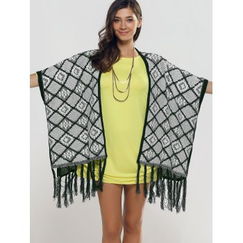 Oversize Fringe Plaid Cape - ONE SIZE ONE SIZE