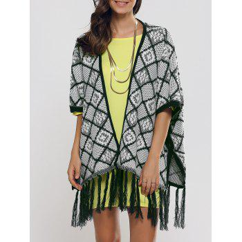 Oversize Fringe Plaid Cape - BLACKISH GREEN ONE SIZE