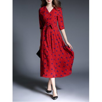 Star Print Faux Wrap Belted Maxi Dress - RED S