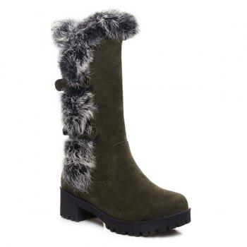 Suede Faux Fur Mid Calf Boots