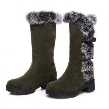 Suede Faux Fur Mid Calf Boots - ARMY GREEN 37