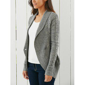 Shawl Collar One Button  Cardigan - GRAY S