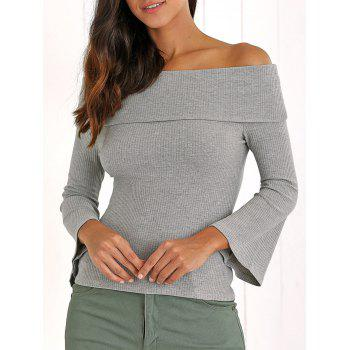 Retro Bell Sleeve Slimming Ribbed Off The Shoulder Knitwear