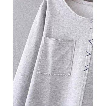 Trimming Double Pockets T-Shirt - GRAY GRAY
