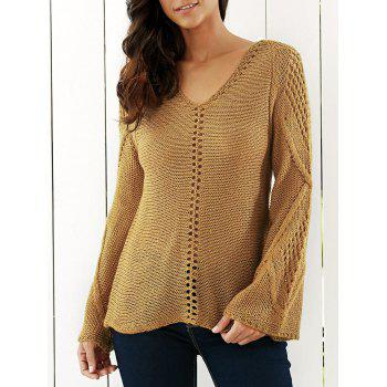 Bell Sleeves Openwork Knitted Sweater