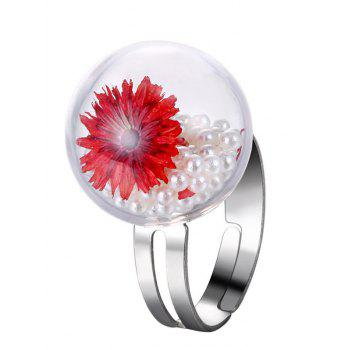 Faux Pearl Glass Dry Flower Ring