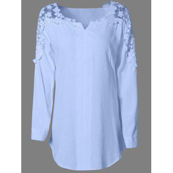 Long Sleeves Guipure Hollow Out Blouse