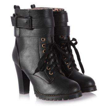 Lace Up Buckle Ankle Boots
