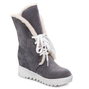 Tie Up Faux Fur Suede Wedge Mid Boots