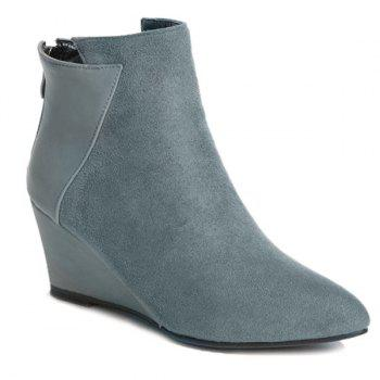 Point Toe Wedge Ankle Boots