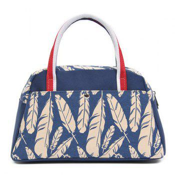 Canvas Feather Print Tote Bag
