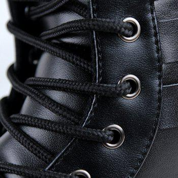 Lace-Up Double Buckles Combat Boots - BLACK 42