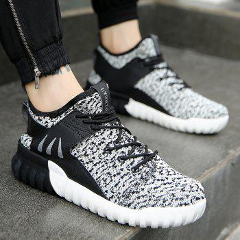 Lace-Up PU Spliced Athletic Shoes
