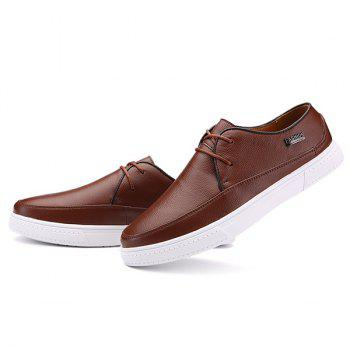 Textured Leather Letter Embellished Casual Shoes - DEEP BROWN DEEP BROWN