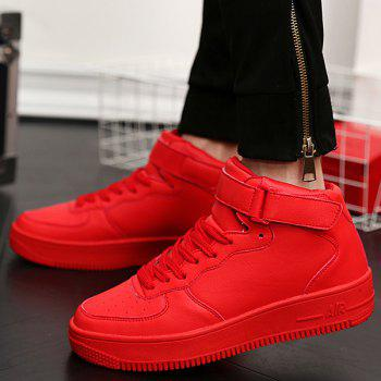 Lace-Up PU Leather High Top Casual Shoes - RED 41
