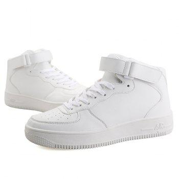 Lace-Up PU Leather High Top Casual Shoes - WHITE 43