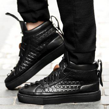High Top Geometric Embossed Casual Shoes - BLACK 42