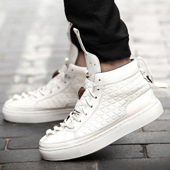 High Top Geometric Embossed Casual Shoes - WHITE WHITE