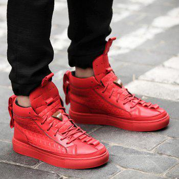 High Top Geometric Embossed Casual Shoes - RED 42