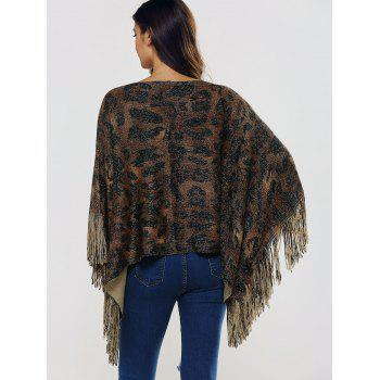 Fringed Oversized Asymmetric Cape - BROWN BROWN
