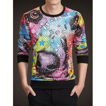 Round Neck Long Sleeve 3D Colorful Abstract Print Argyle Sweatshirt